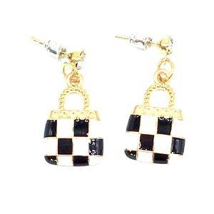 NEW black&white checkered purse/handbag earrings